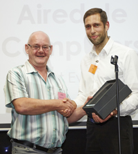 Keith from Airedale Computers is presented one of the first ever ShopTalk National IT Reseller Awards by Senior Account Manager, Tim Eley