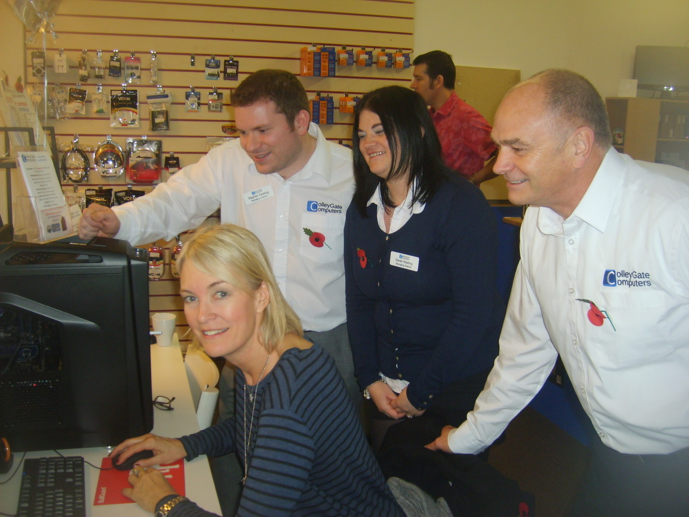An Open Day is a great event: here CRADLEY MP Margot James plays a computer game at Colley Gate Computers