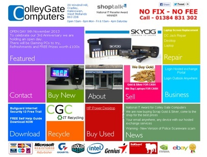 Colley Gate Computers had just given its website an overhaul – a bit tired and 'samey', they took their inspiration from the recently launched Windows 8