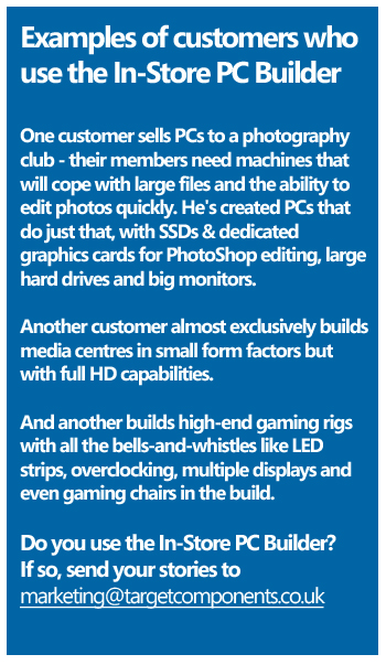 Examples of Target customers using the In-Store PC Builder